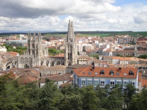 Scenic Overlook with Cathedral of Saint Mary and old Burgos below
