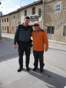 Joe with Carlos of the Guardia Civil in village of Hornillos