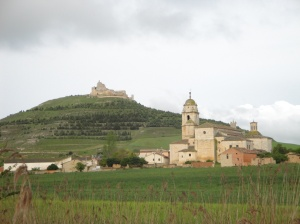 Castrojeriz with it's castle ruins on top of the hill and old church in the center of town.