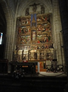 The magnificent altar of the 13th Century Templar Church in Villalcazar de Sirga depicting the life of St. James
