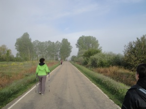 Nancy starting her walk yesterday morning.  Very cold and foggy morning.