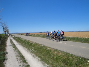 Pilgrims experiencing the Camino on bicycles,