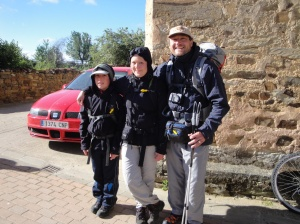 A German father sharing the wonderful gift of the Camino with his daughter and son.