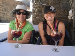 Nancy and Andrea enjoying a well deserved Sangria today in Triacastela.