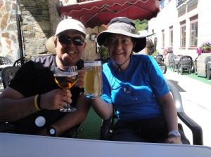 Joe and Heike enjoying a beer while Nancy and Andrea enjoying their Sangria.