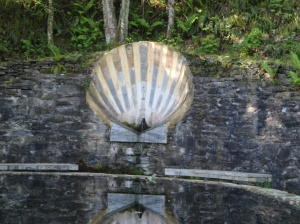 A pilgrim's water fountain near the peak of Alto do Riocabo about 5 kilometers outside Triacastela on the way to Sarria.