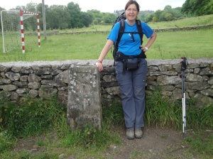 Heike at the 70 kilometer marker to Santiago.  That's like walking from Aachen to Koeln.