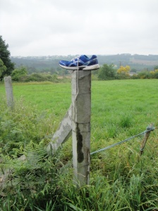 I saw this shoe this morning as we climbed out of the village of Arzua.