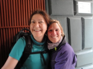 Natasha with Heike in line to receive our Compostela.  Natasha is in the German Army (prettiest soldier I ever saw!) and another one of those angels who welcomed us at Reliegos.  She was leaving the next day to continue walking to Finisterre.  Champions League, Natasha!