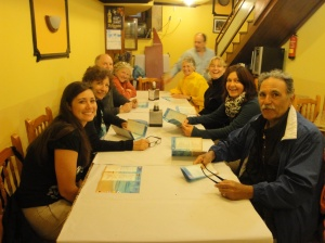 "Dinner last night with our uncle and aunt - Adel and Janice along with our new found Camino friends, Charlie and Paula and our ""old"" Camino friends Heike and Gabby."