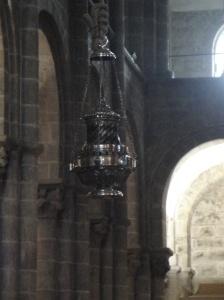 The famous Botafumeiro in the Santiago Cathedral.