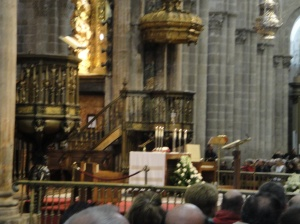 The Altar at the Santiago Cathedral before the Pilgrim's Mass on Monday, June 10.