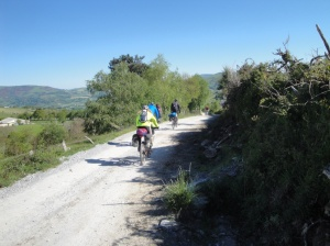 Pilgrims experiencing the Camino on bikes.
