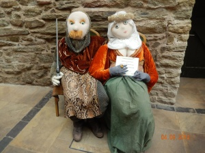 Lord Mortimer and Lady Grey welcoming visitors to Ludlow Castle