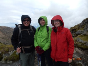 As we near the summit, Marion, Nancy and I put on all our warm clothes!