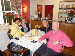 Carl, Marion, Joe and Nancy in Carvell's Tea Shop. Ludlow