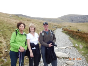 Nancy, Marion and Carl early into our ascent of Mt. Snowdon.